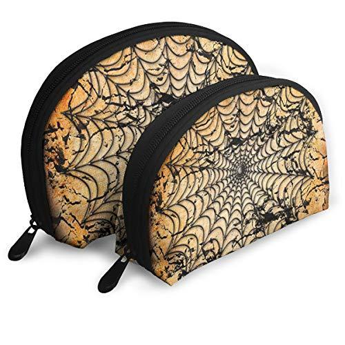 Cosmetic Bag Halloween Spider Web Background Travel Makeup Pencil Pen Case Multifunction Storage Portable - 2 Piece Set ()