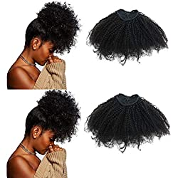 EIAKE Hair 4B4C Afro Kinky Curly Ponytails Clip In Human Hair Extensions For African Amaricans Kinky Coily Natural Virgin Clipin Ponytail HairPieces Curly Drawstring Puff Ponytail Top Closure (12inch)