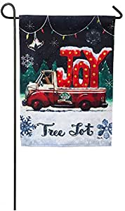 Evergreen Tree Lot Plaid Joy Suede Garden Flag, 12.5 x 18 inches