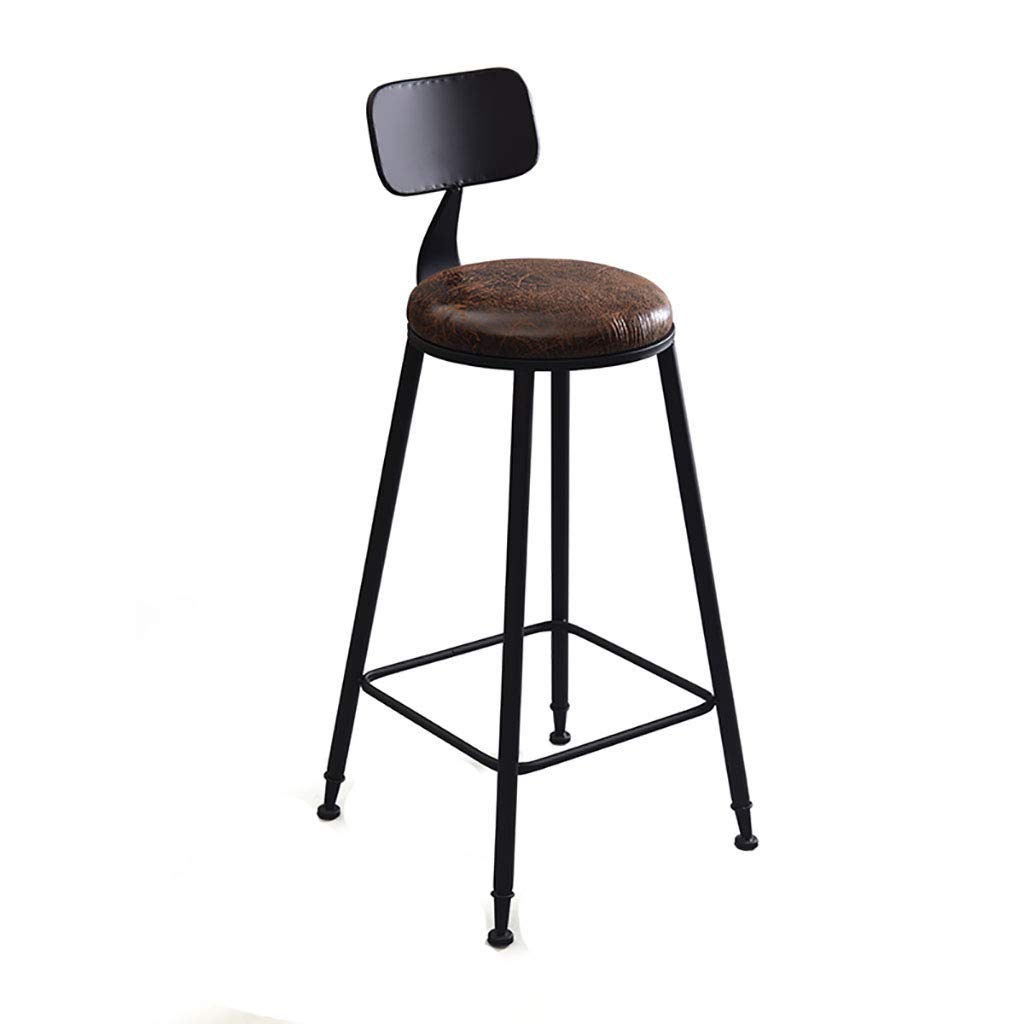 Cushion Seat Round Bar StoolHigh Stool Bar Chairs Rustic Pub Stools for Kitchen Breakfast Cafe - Solid Wood Seat Cushion Seat and Iron Frame, 45x45x105cm