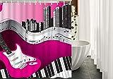 Hot Pink and Black Shower Curtain SPXUBZ Music Music Bass Guitar Hot Pink Light Grey Black Shower Curtain Waterproof Bathroom Decor Polyester Fabric Curtain Sets Hooks