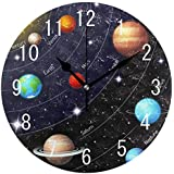 fc68122000e22 Space Planet Solar System Wood Wall Clocks Silent Non Ticking Decorative for  Living Room Bedrooms Office