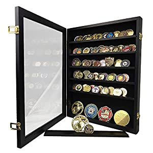 XJmil Challenge Coin Display Case Cabinet Holder Military Challenge Coin Stand Rack Glass Door Black Finish by XJmil