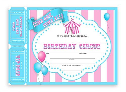 Circus Invitations - Aqua/Pink - 10 Invitations 10 Envelopes