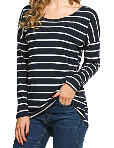 Blue Striped Long Sleeve Shirt (Women's Black and White Stripes Long Sleeve T-shirt Tops (S, Navy Blue))