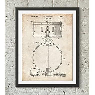 Slingerland Snare Drum Patent Poster Color Vintage Parchment Size 24x36