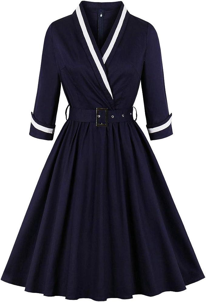 Sailor Dresses, Nautical Theme Dress, WW2 Dresses Wellwits Womens 3/4 Sleeves Wrap Sailor Stripe Cotton Vintage Career Dress $17.99 AT vintagedancer.com