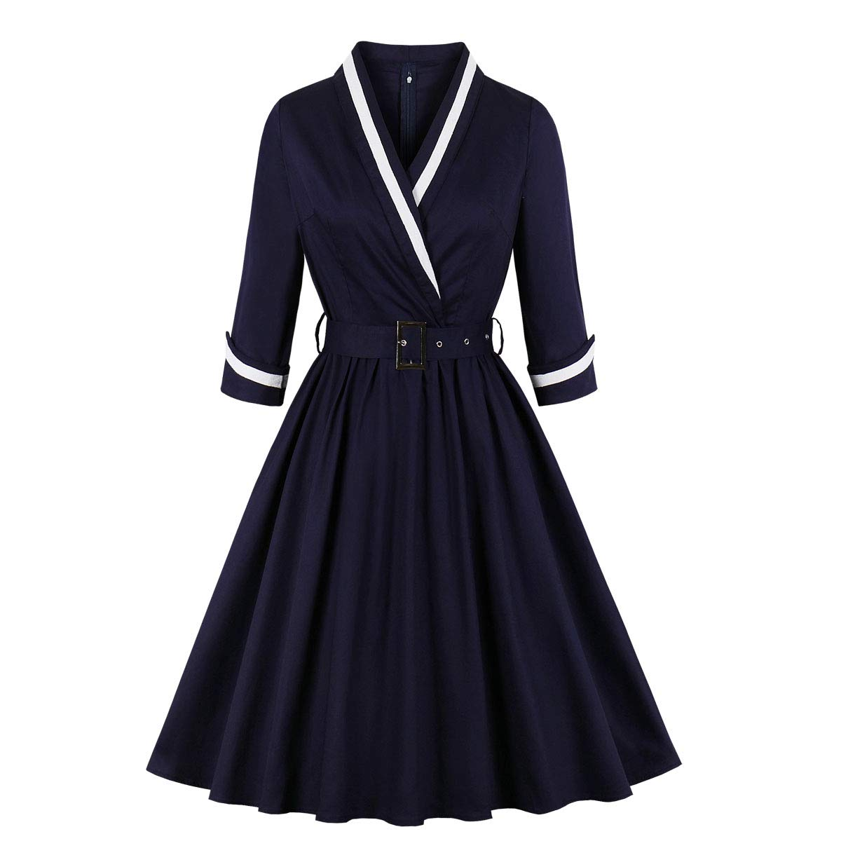 Vintage 50s Dresses: Best 1950s Dress Styles Wellwits Womens 3/4 Sleeves Wrap Sailor Stripe Cotton Vintage Career Dress $24.98 AT vintagedancer.com