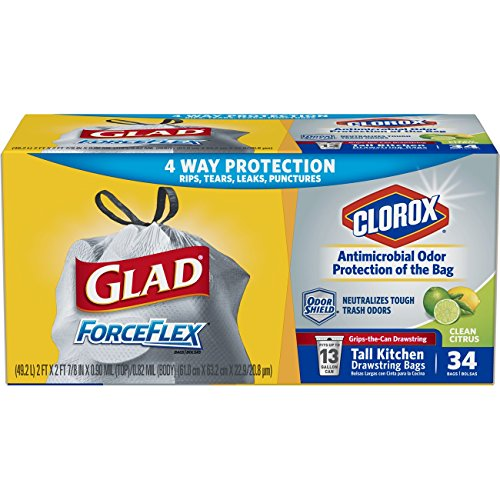Glad Tall Kitchen Drawstring Trash Bags – ForceFlex + Antimicrobial Protection 13 Gallon White Trash Bag, Scented - 34 Count