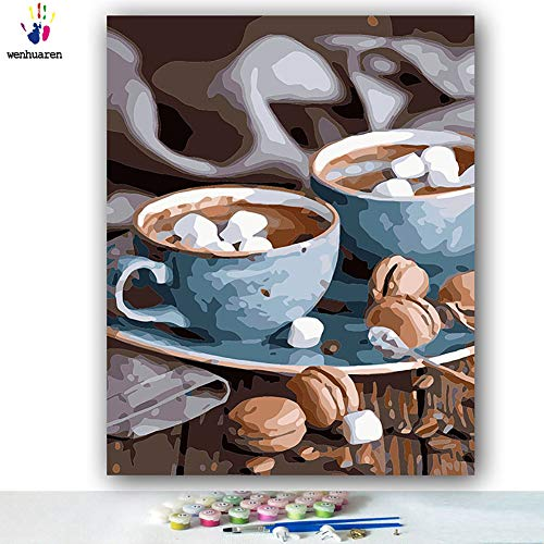 Paint by Number Kits Canvas DIY Oil Painting for Kids, Students, Adults Beginner with Brushes and Acrylic Pigment -Coffee Macaron Dessert Afternoon Tea Leisure Afternoon (5713, 20x24 no Frame)