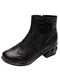 Size 5.5-9 Women Leather Martin Boots,Retro Ethnic Style Handmade Flowers Shoes Middle Heel Zipper Boots