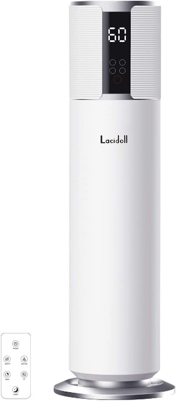 LACIDOLL, 2.1Gal/8L Top Fill Humidifiers for Large Room, Quiet Cool Mist Ultrasonic Humidifiers for Bedroom Runs up to 24 Hours, Auto Shut-Off and Easy to Clean