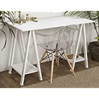 WE Furniture 48 Wood Sawhorse Computer Desk - White