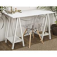 WE Furniture 48' Wood Sawhorse Computer Desk - White