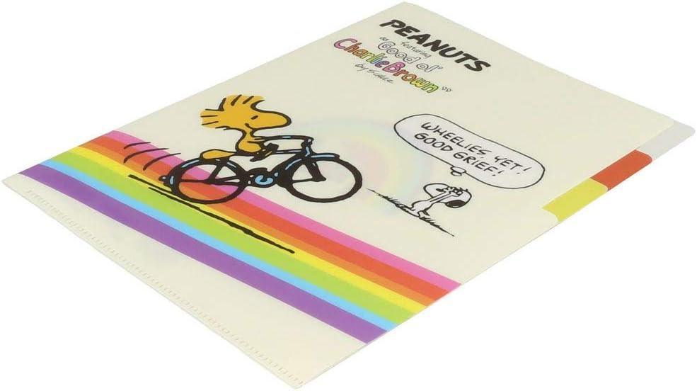 Snoopy Peanuts Rainbow Clear Plastic Folder A5 3 Pocket Pop