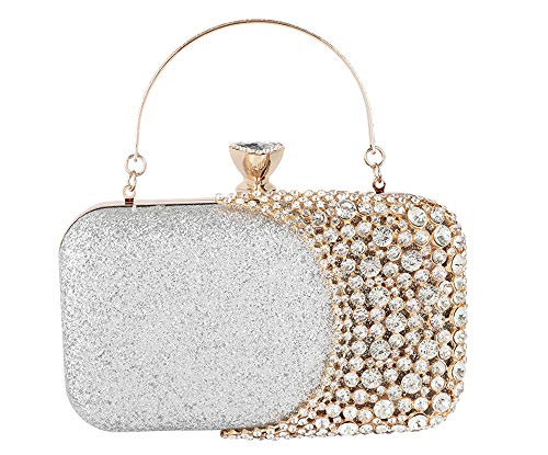 - FIVE FLOWER Womens Crystal Evening Clutch Bag Wedding Purse Bridal Prom Handbag Party Bag (SILVER), Medium