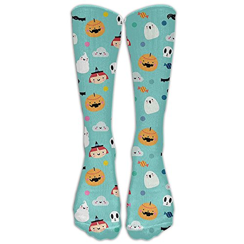 Halloween Pumpkin Witch Ghost Pattern Compression Socks Soccer Socks Knee High Socks Long Stockings For Running,Jogging,Cross Training,Workouts,Basketball,Hiking,Tennis,Cycling,Relief