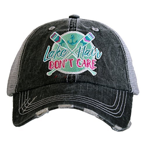 Katydid Lake Hair Don't Care Paddles Patch Women's Trucker Hat-gray/mint (Lake Girl)
