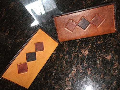 Leather Checkbook Cover Brown Argyle lined with Tan Pig Skin