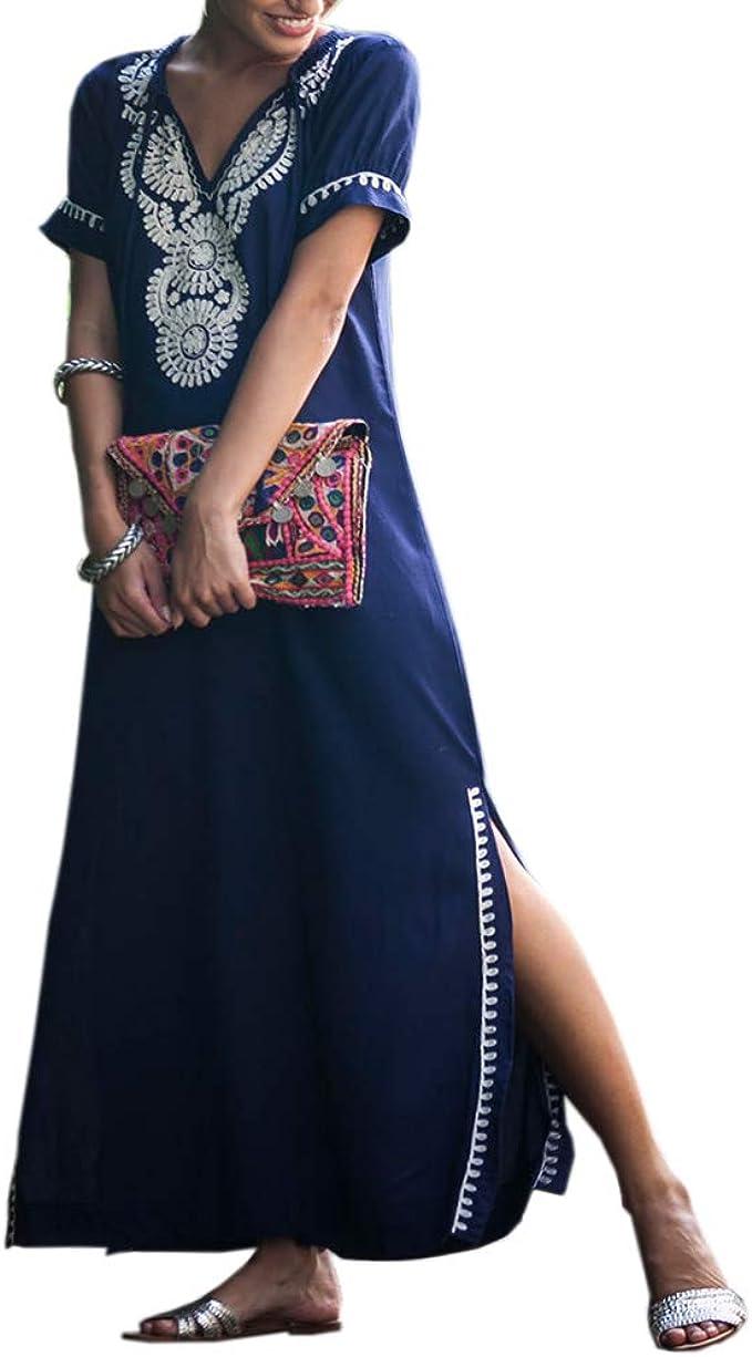 SIEBENEINSY Sommerkleider Damen Türkischer Stil Boho Strandkleid