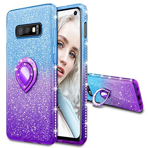 Maxdara Case for Samsung Galaxy S10e Glitter Ring Grip Holder [Gradient Kickstand Series] Bling Sparkle Diamond Rhinestone Protective Luxury Pretty Fashion Girls Women Case (Blue&Purple)