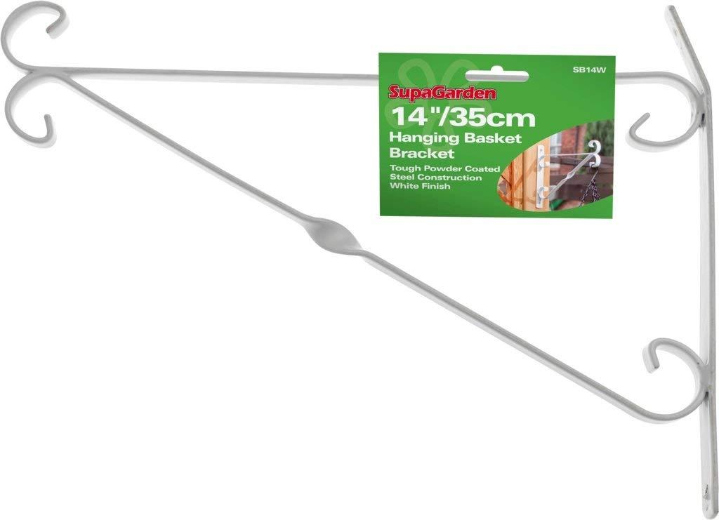 "SupaGarden Hanging Basket Bracket White 35cm//14/"""
