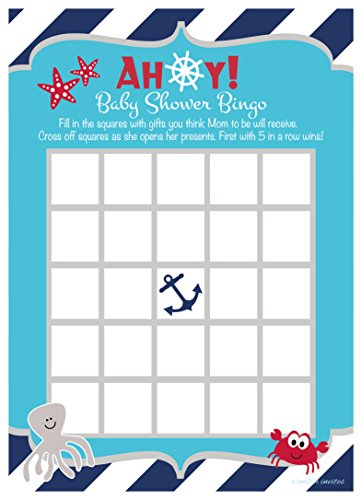 Nautical Under the Sea Baby Shower Bingo Game Cards (50 -