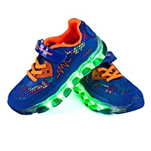 Shinmax LED Kid Shoes LED Sneakers Sport Shoes New-Released Spring-Summer-Autumn Breathable 7 Colors LED Shoes USB Rechargable Kid shoes Led Sneakers with CE Certificate for Halloween Christmas Thanks Giving Day