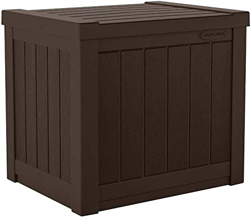 Suncast 22-Gallon Small Deck Box – Lightweight Resin Outdoor Storage Deck Box and Seat for Patio Cushions, Gardening Tools and Toys – Java Brown