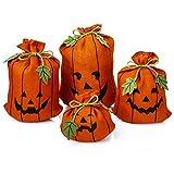 Besti calabaza decoraciones de Halloween (4 sacos de arpillera) lindo, decoración decorativa para interiores para hogares, cocinas, escaparates | rellenable, reutilizable clásico bolsas | Spooky Fun
