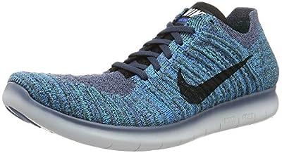 New Nike Mens Free Rn Flyknit Running Shoe (13 D(M) US, OCEAN FOG/BLACK-BLUE GLOW-HYPER JADE-PURE PLATINUM) ... (13 D(M) US)