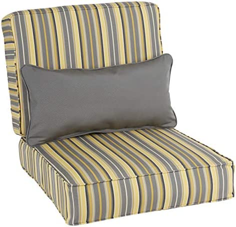 Humble and Haute Oakley Sunbrella Striped Indoor/Outdoor Corded Chair Cushion Set and Lumbar Pillow