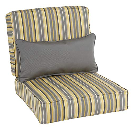 Humble and Haute Oakley Sunbrella Striped Indoor/Outdoor Corded Chair Cushion Set and Lumbar ()