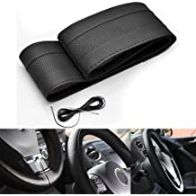 """Black 13"""" DIY PVC Leather Steering Wheel Decor Cover Stitch Wrap + Needle and Thread For Chevy Ford Charger Dodge GMC Denali"""
