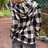 vermers Clearance Fashion Womens Pullover Hoodie - Women Casual Plaid Long Sleeve Sweatshirt Hooded Tops with Pocket(XL, Black)