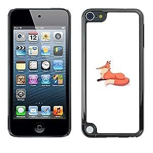 """For Apple iPod Touch 5 Case , Fox minimalista Dibujo para niños Blanco Naranja"""" - Diseño Patrón Teléfono Caso Cubierta Case Bumper Duro Protección Case Cover Funda"""