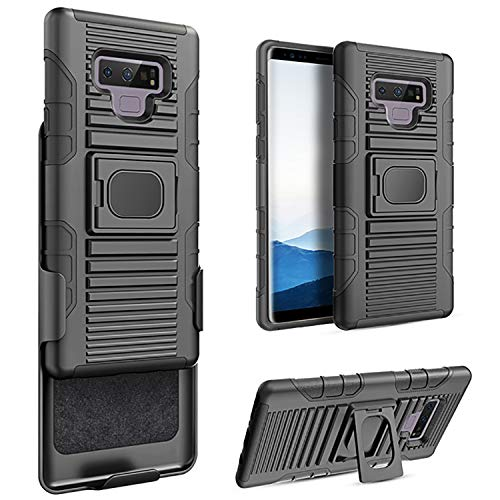 Luvvitt Heavy Duty Armor Shockproof Rugged Protection Case Cover with Belt Swivel Clip and Kickstand for Samsung Galaxy Note 9 2018 Release (Black)