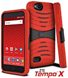 exo phone accessories - ZTE Tempo X Case, ZTE N9137 Celljoy [EXO Armor] Hybrid Dual Layer ((Shock-proof)) {Kickstand} Premium Protective Hard Case - Extreme Grip Robot Cover - Virgin Mobile, Boost Mobile (Red/Black)