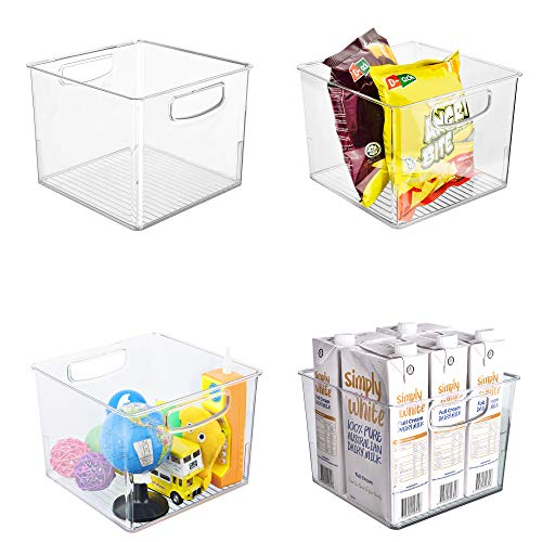 Ambergron Clear Storage Bins for Kitchen Pantry Cabinet Refrigerator Plastic Food Organizer with Handles, Clear Container, BPA-Free, Pack of 4