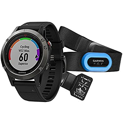 Garmin Fenix 5 Sapphire Multisport 47mm GPS Watch Performer Bundle Black w/Black Band (010-01688-31) + Silicon Wrist Band for Garmin Fenix 5 + 1 Year Extended Warranty.