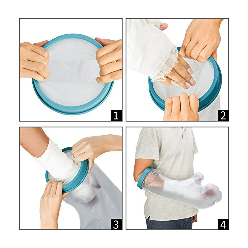 Waterproof Arm Cast Protector for Shower & Bath, Reusable Bandage Cover Keeps Casts & Bandages Dry, Adult Arm Cast Sleeve bag Covers Hands, Wrists, Fingers for Wounds & Burns 22 Inches