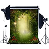 5X7FT Laeacco Vinyl Photography Backdrop Spring Wonderful Mysterious Garden Sunshine Scene Background Moon and Green Grass Scene Photo Studio Props Customized