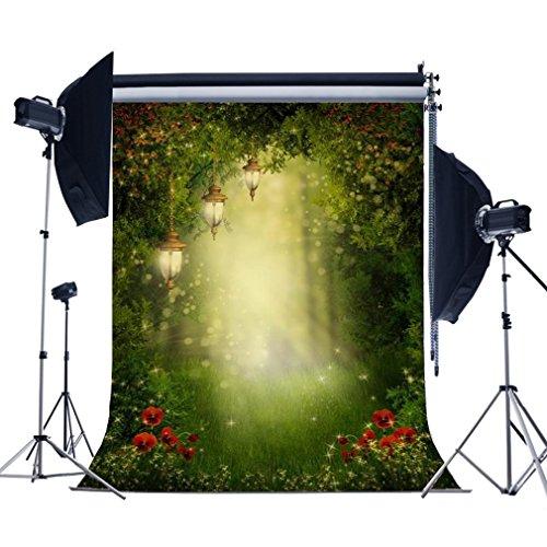 5X7FT Laeacco Vinyl Photography Backdrop Spring Wonderful Mysterious Garden Sunshine Scene Background Moon and Green Grass Scene Photo Studio Props (Garden Backdrop)
