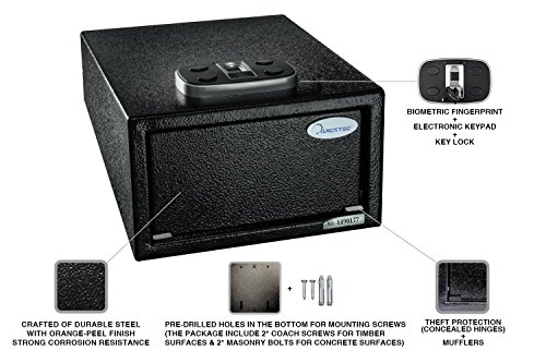 Pistol Safe Quick Access with Electronic Keypad and 2 Emergency Keys by Quicktec (standard size-biometric) by Quicktec (Image #4)