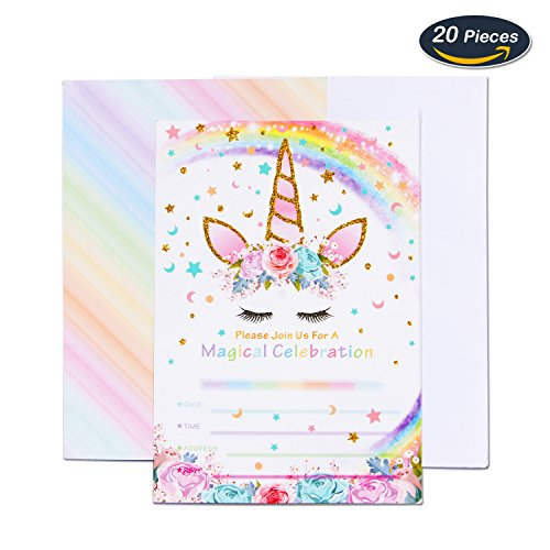 AMZTM Magical Unicorn Party Invitations with Envelopes for Kids Birthday Baby Shower Party Supplies 20 Pieces of Fill-in Blank Invitation Card (Birthday Party Invitation Envelope)