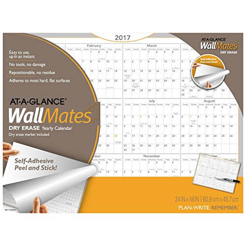 "AT-A-GLANCE Dry Erase Wall Calendar 2017, Self-Adhesive, 24 x 18"", WallMates (AW5060-28)"