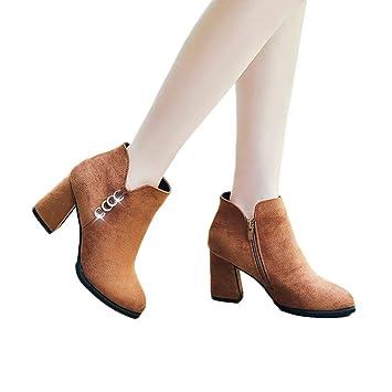 Qiusa Botas Individuales de Moda para Mujer, Botines de Ante Botas Martin de tacón Alto