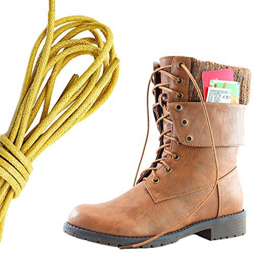 Dailyshoes Donna Militare Allacciatura Fibbia Stivali Da Combattimento Caviglia Metà Polpaccio Ripiegabile Tasca Per Carte Di Credito, Tan Giallo