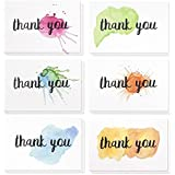 Juvale Thank You Cards - 48-Count Thank You Notes, Bulk Thank You Cards Set - Blank on The Inside, 6 Watercolor Splash Designs - Includes Thank You Cards and Envelopes, 4 x 6 Inches
