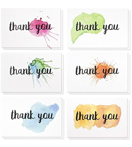 Thank You Cards - 48-Count Thank You Notes, Bulk Thank You Cards Set - Blank on The Inside, 6 Watercolor Splash Designs - Includes Thank You Cards and Envelopes, 4 x 6 Inches